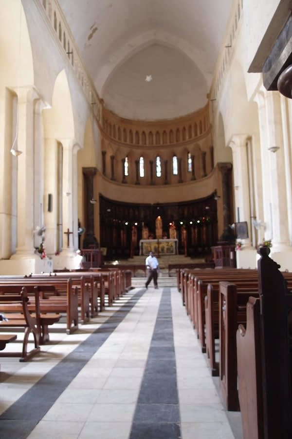 interior of anglican christ church stone town