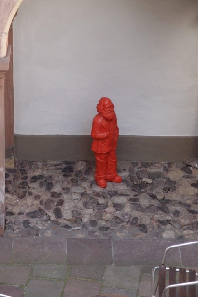 statue of Karl Marx in the courtyard