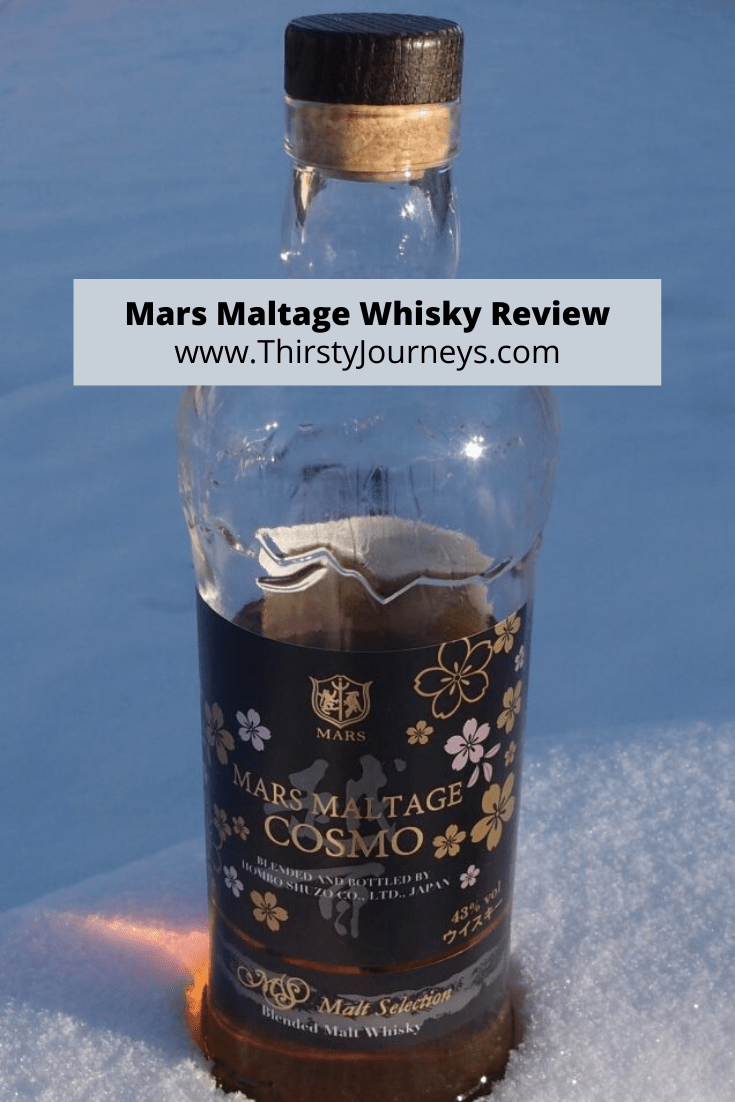 Mars Whisky bottle in the snow