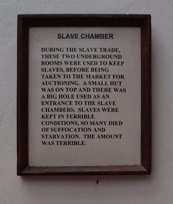 slave chamber sign stone town
