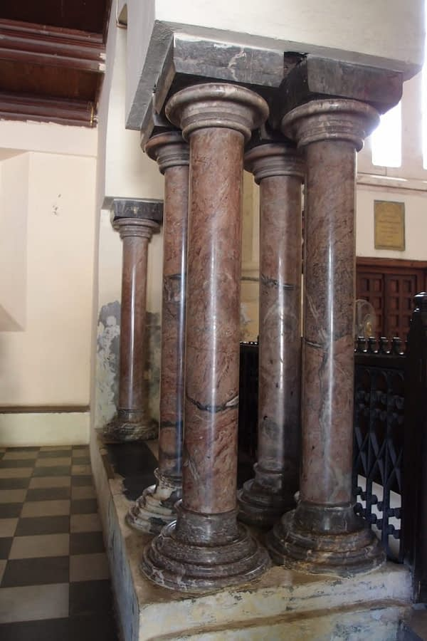 upside down columns interior of anglican christ church stone town