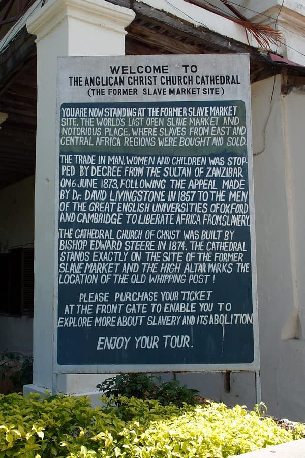 stone town anglican church former slave market sign