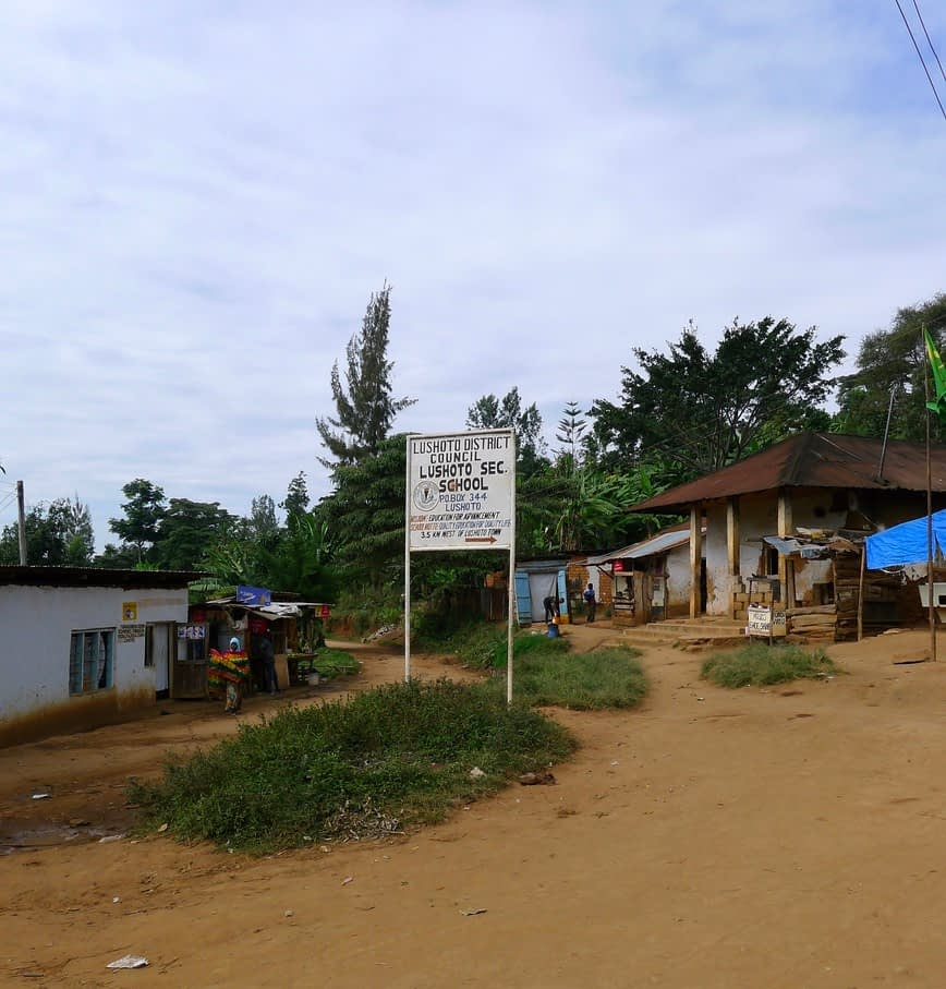Lushoto secondary school sign