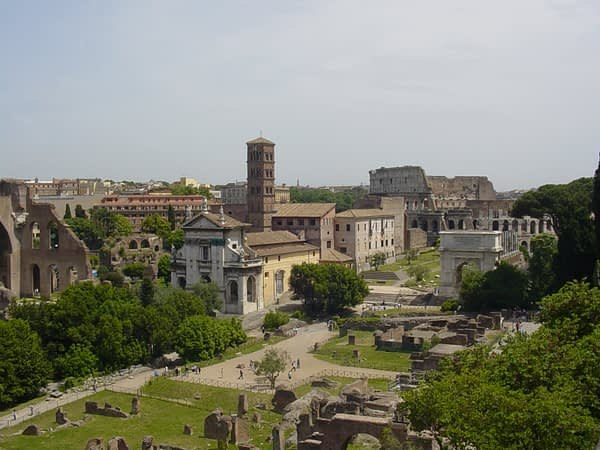 a view of the eastern part of the Roman forum