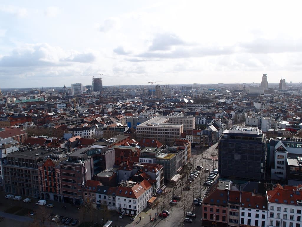 view of Antwerp from roof of the MAS