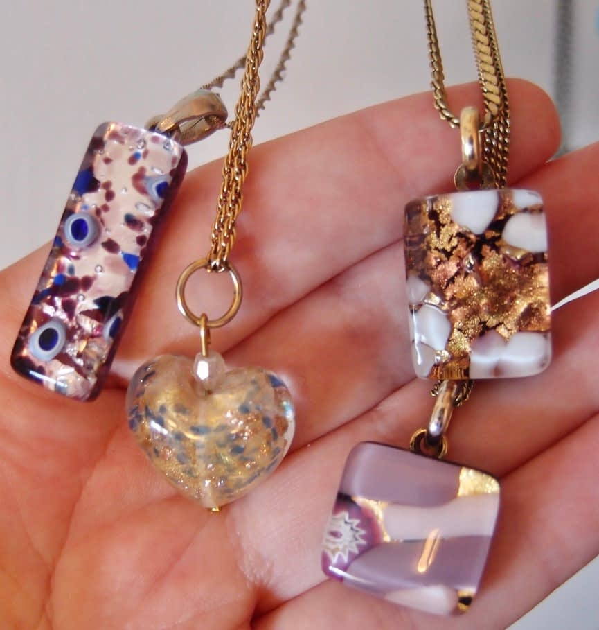 four glass necklaces from Venice