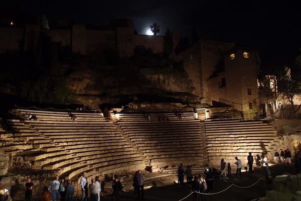 Roman Theatre at night, Malaga