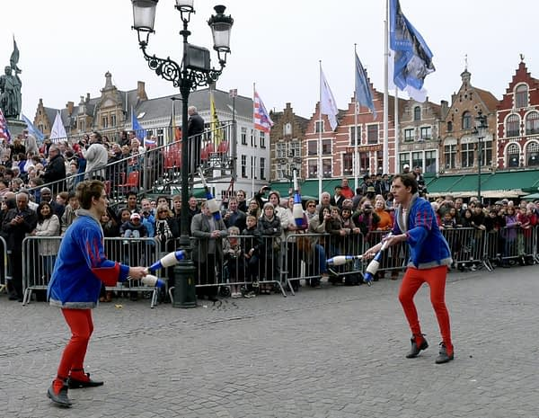 acrobats, procession of the holy blood, Bruges, Belgium