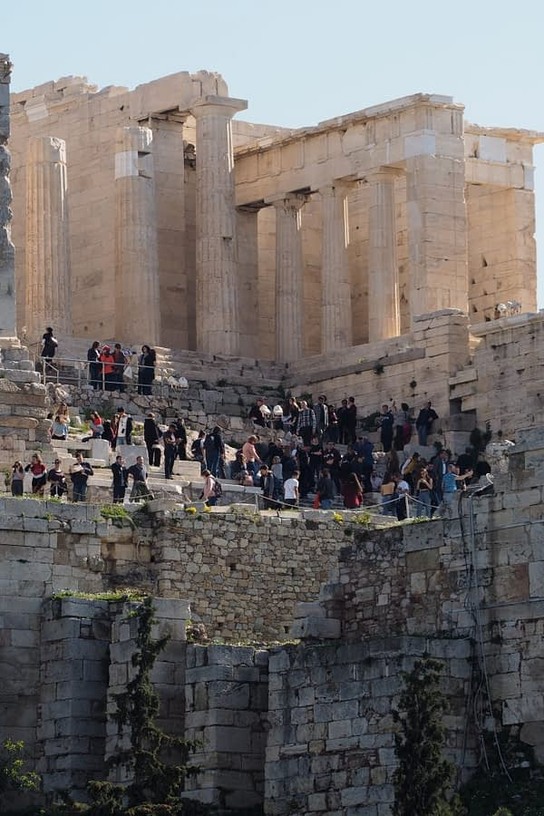 crowds at the Acropolis, greece