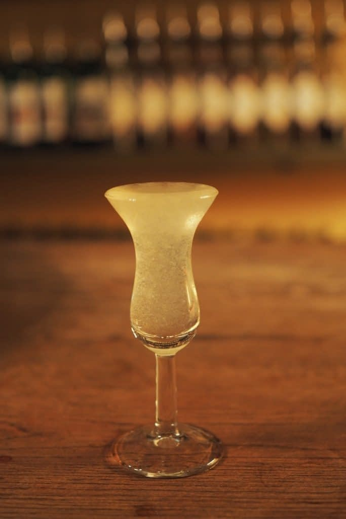 tulip glass with liqueur