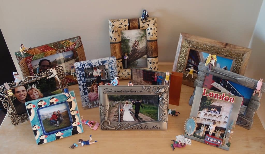 shelf with photos in frames