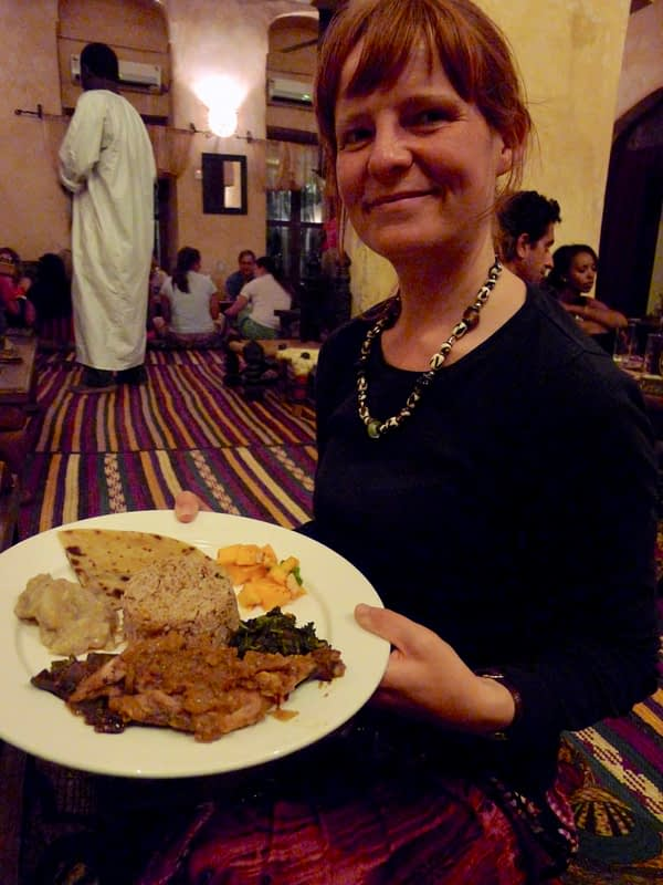 showing off dinner in Stone Town