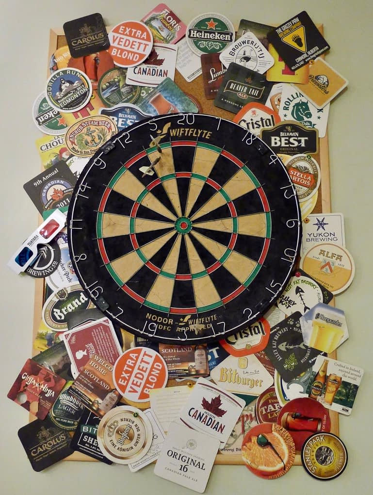 dartboard with coasters for background