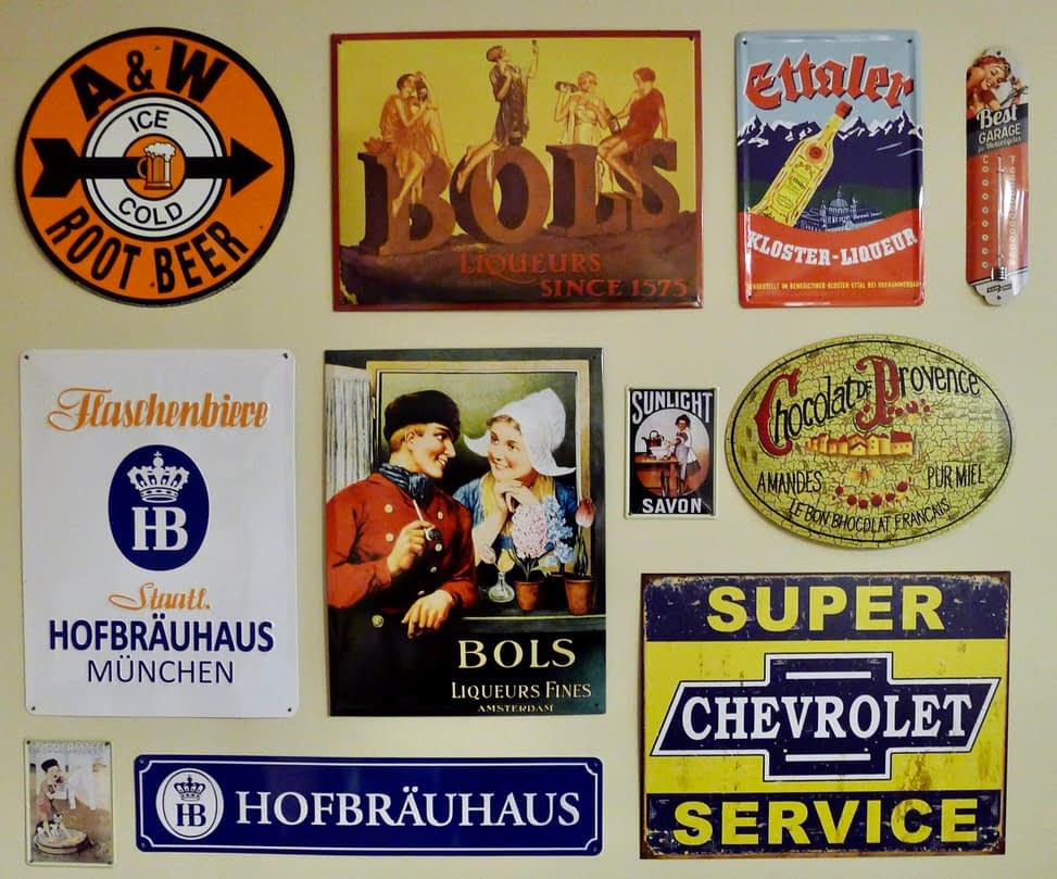 metal signs on wall