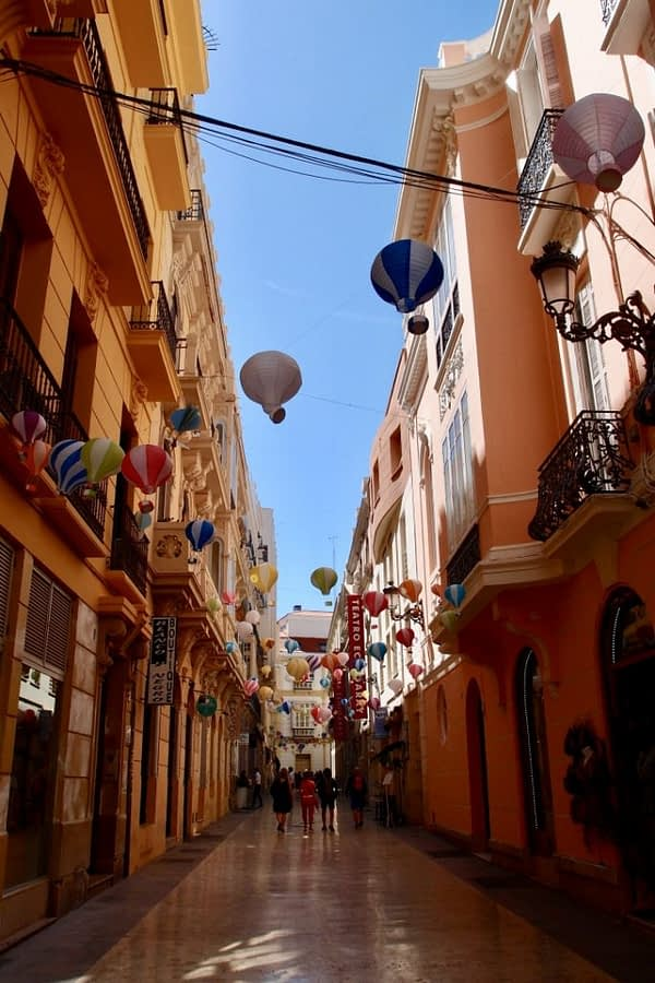 hot air balloon display on Malaga street