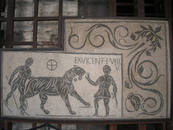 mosaic of a tiger and two bestiarii