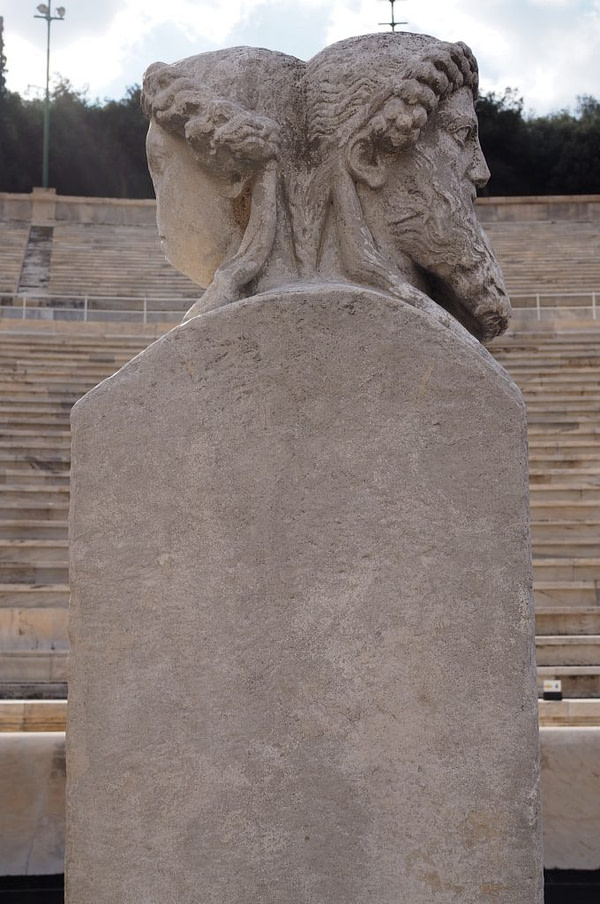 ancient hermai statue in view from the Panathenaic Stadium in Greece