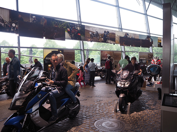 BMW Welt interior with motorcycles