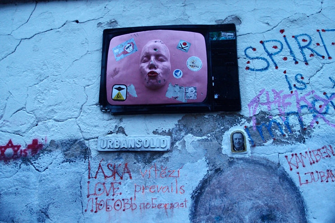 Urban Solid pink face tv in Prague