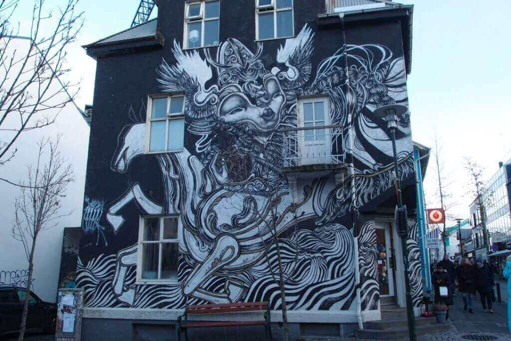 black and white mural by Caratoes S in Reykjavik