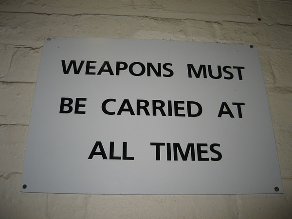 Scotland's Secret Bunker Weapons Must Be Carried at All Times sign