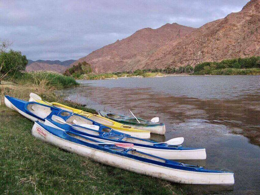 Canoes on the Orange River South Africa