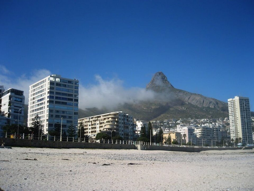 Cape Town view from the beach South Africa