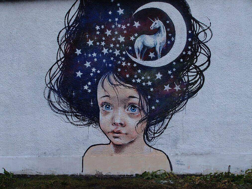 Girl with unicorn and stars Reykjavik mural